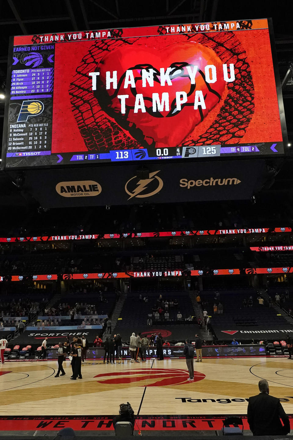 The Toronto Raptors thanks Tampa at the end of their last NBA basketball game in their temporary home against the Indiana Pacers Sunday, May 16, 2021, in Tampa, Fla. The Raptors played their season in Tampa due to coronavirus restrictions in Canada. (AP Photo/Chris O'Meara)