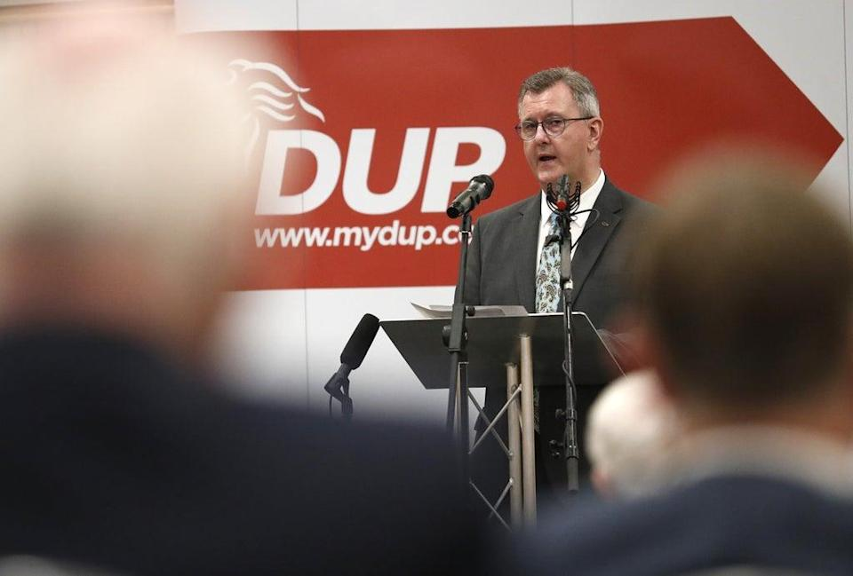 Sir Jeffrey Donaldson delivers his keynote speech on the Northern Ireland Protocol (Peter Morrison/PA) (PA Wire)
