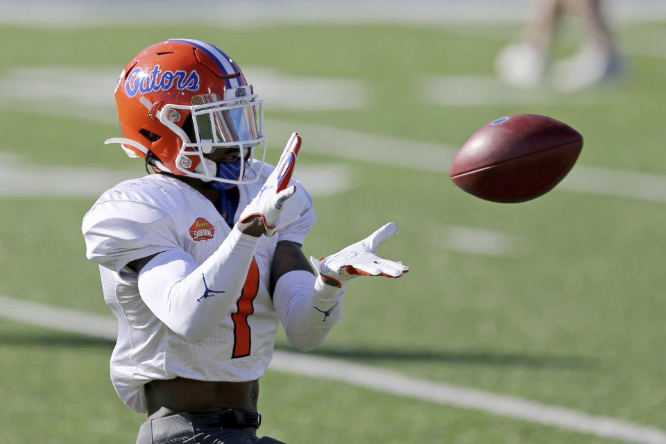 Florida WR Kadarius Toney could help spice up the Saints' offense, especially if Drew Brees retires. (AP Photo/Rusty Costanza)