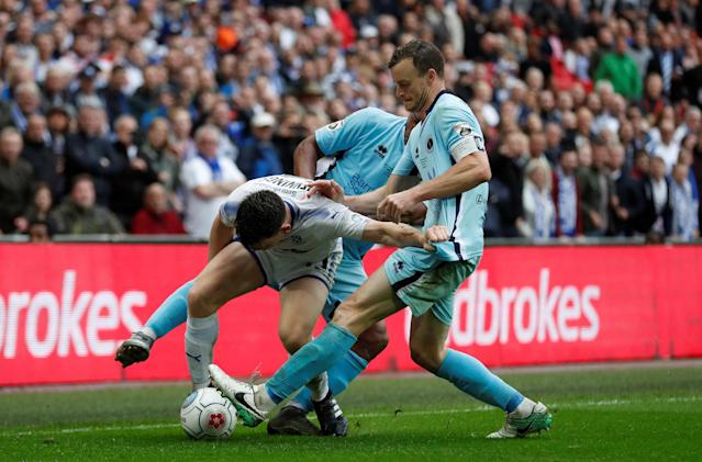Soccer Football - National League Promotion Final - Tranmere Rovers v Boreham Wood - Wembley Stadium, London, Britain - May 12, 2018 Tranmere Rovers' Connor Jennings in action with Boreham Wood's Mark Ricketts Action Images/Matthew Childs