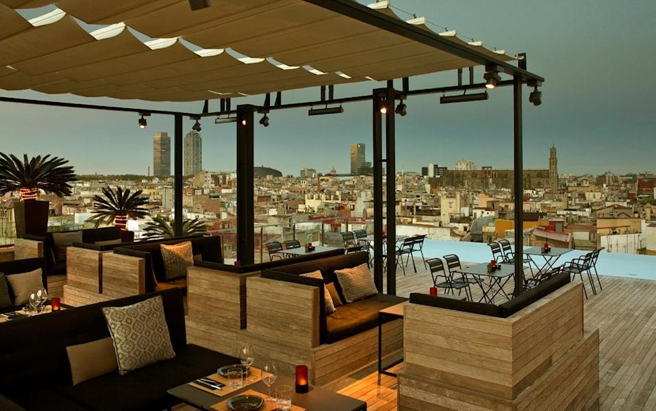 The rooftop bar next to the pool at Grand Hotel Central is one of the trendiest places in Barcelona.