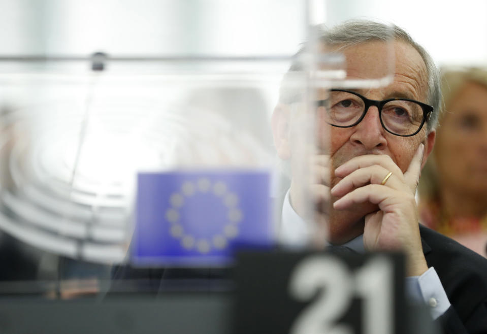 European Commission President Jean-Claude Juncker listens Wednesday, Sept. 18, 2019 in Strasbourg, eastern France, as members of the European Parliament discuss the current state of play of the UK's withdrawal from the EU. (AP Photo/Jean-Francois Badias)