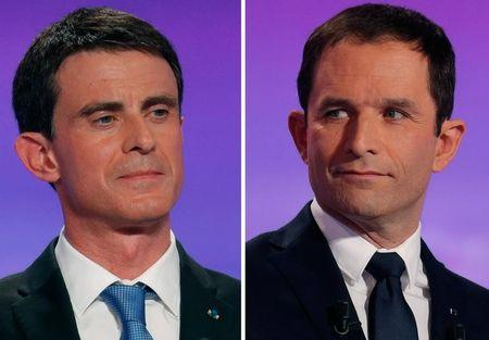 A combination picture shows French Socialist party politicians, former prime minister Manuel Valls (L) and former education minister Benoit Hamon, candidates in the second round for the French left's presidential primary election, as they attend the first prime-time televised debate in La Plaine Saint-Denis, near Paris, France, January 12, 2017. REUTERS/Philippe Wojazer/Files
