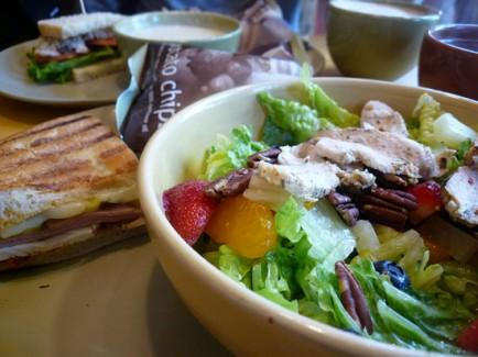 "<div class=""caption-credit""> Photo by: Flickr</div><div class=""caption-title""></div><b>Panera Bread</b> <br> Panera is one of my favorite places for a quick salad, but do your research ahead of time to make sure you're getting the healthy stuff. And of course, try to skip all of those tempting desserts and pastries! <br> <b>Try:</b> A Greek salad - with feta cheese and kalamata olives - is a yummy option for just 380 calories. The Chopped Chicken Cobb with Avocado is higher-calorie at 580, but clocks a whopping 38 grams of protein. <br> <b>Avoid:</b> The mac & cheese. No matter how tempting, the small one clocks in 490 calories and 30 grams of fat, 13 of those fat grams being saturated."