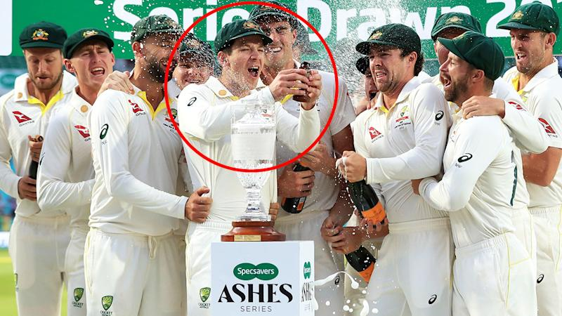 Tim Paine, pictured here celebrating retaining the Ashes urn. Image: Getty