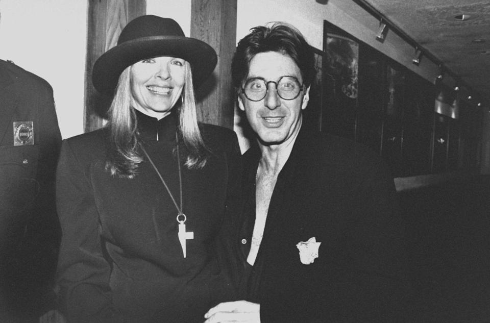 """<p>Keaton and Pacino had a two decades-long on-again, off-again love affair during the <a href=""""http://www.newyorker.com/magazine/2014/09/15/caught-act"""" rel=""""nofollow noopener"""" target=""""_blank"""" data-ylk=""""slk:'70s and '80s"""" class=""""link rapid-noclick-resp"""">'70s and '80s</a> while starring together in the iconic<em> Godfather</em> trilogy. Allegedly, she wanted to settle down, but Pacino wasn't ready at the time, so they split up. Still, they worked together for about 20 years, having to continue their professional relationship while their personal one remained rocky.</p>"""