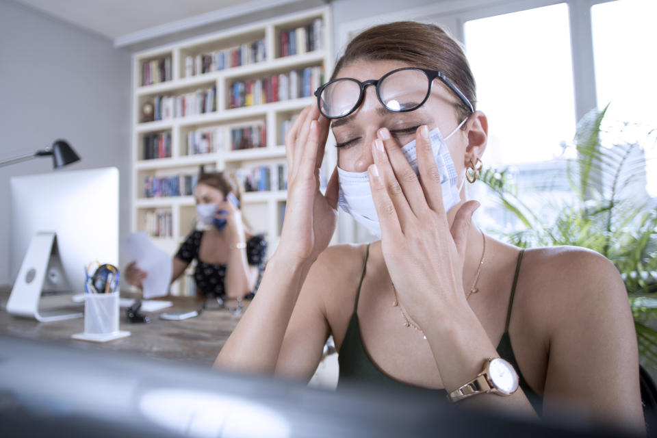 Wearing a face mask for long periods could lead to eyes feeling irritated. (Getty Images)