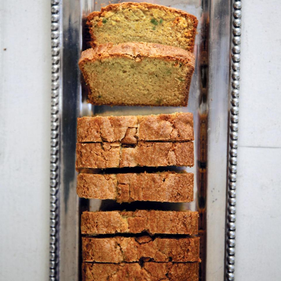 """Avocado lends a sweet, buttery flavor (and a green tint) to this pound cake. The inclusion of cornmeal in this recipe also gives the cake a pleasing bite. <a href=""""https://www.epicurious.com/recipes/food/views/avocado-pound-cake-395113?mbid=synd_yahoo_rss"""" rel=""""nofollow noopener"""" target=""""_blank"""" data-ylk=""""slk:See recipe."""" class=""""link rapid-noclick-resp"""">See recipe.</a>"""
