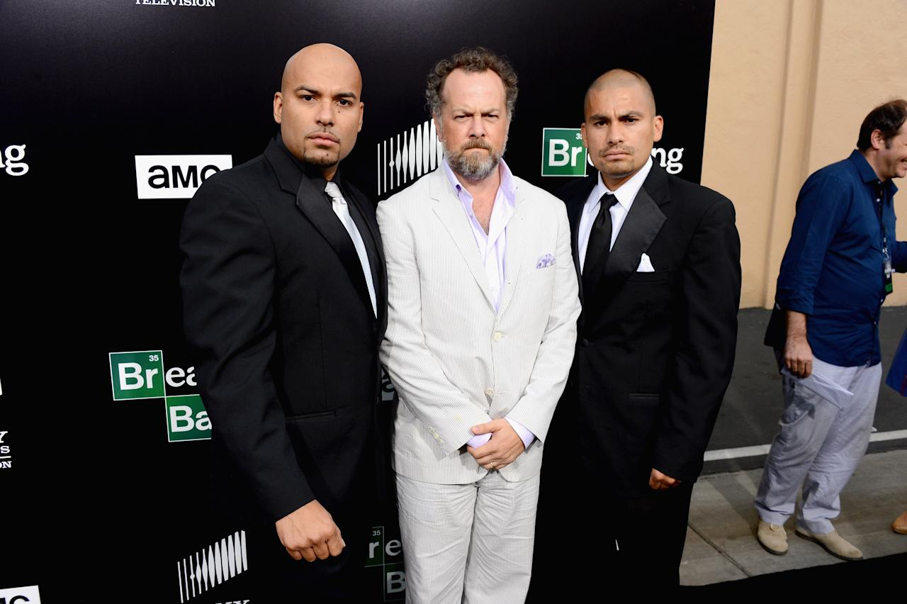 "CULVER CITY, CA - JULY 24: (L-R) Actors Luis Moncada, David Costabile and Daniel Moncada arrive as AMC Celebrates the final episodes of ""Breaking Bad"" at Sony Pictures Studios on July 24, 2013 in Culver City, California. (Photo by Mark Davis/Getty Images)"