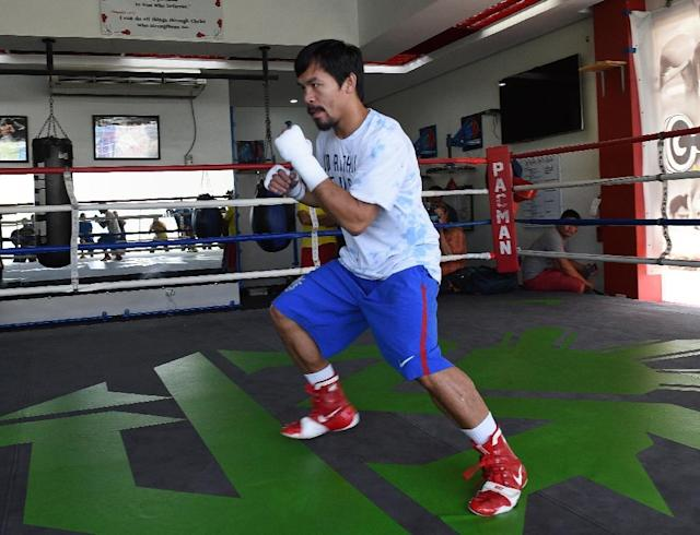 Philippine boxing icon Manny Pacquiao, seen during a training session in General Santos, on the southern island of Mindanao, on February 15, 2016 (AFP Photo/Ted Aljibe)