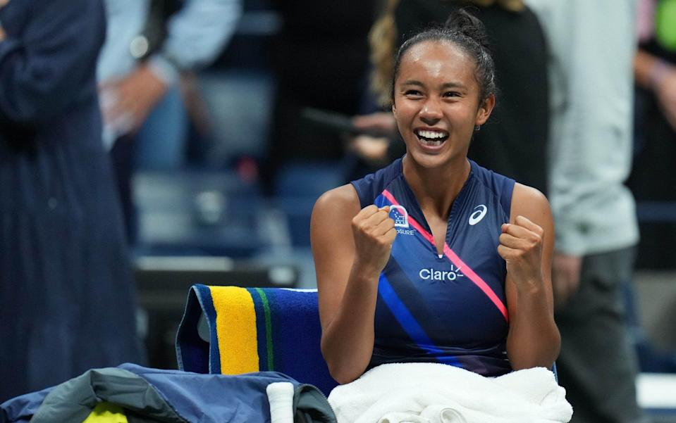 Leylah Fernandez of Canada celebrates after her match against Aryna Sabalenka of Belarus (not pictured) on day eleven of the 2021 U.S. Open tennis tournament - USA TODAY
