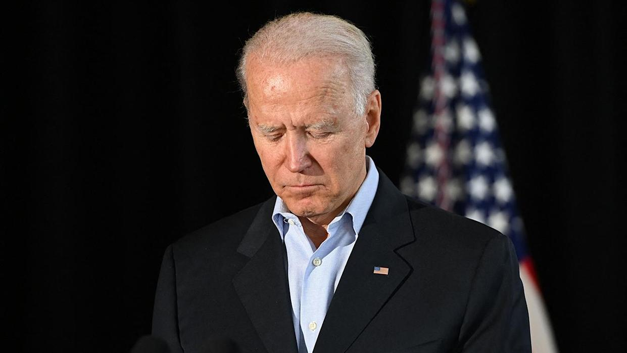 President Biden looks solemn after meeting with families of victims in the Surfside, Fla., building collapse on Thursday.