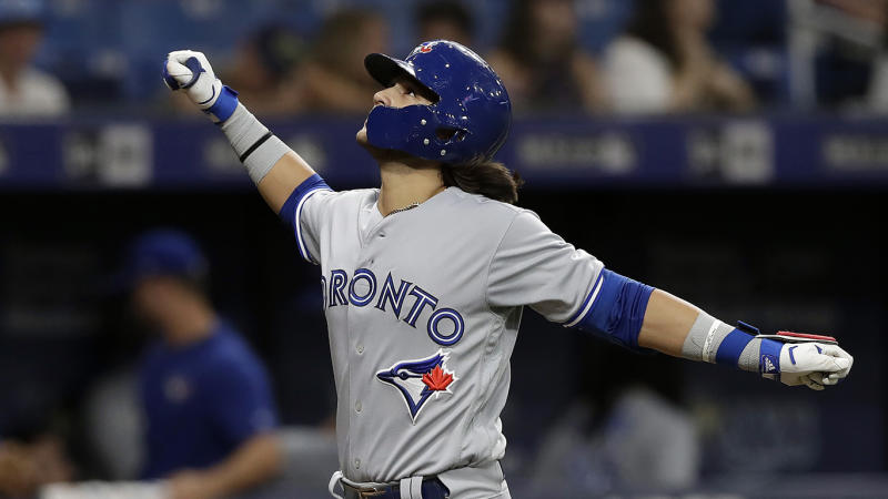 Bo Bichette refuses to cool down at the plate. (AP Photo/Chris O'Meara)