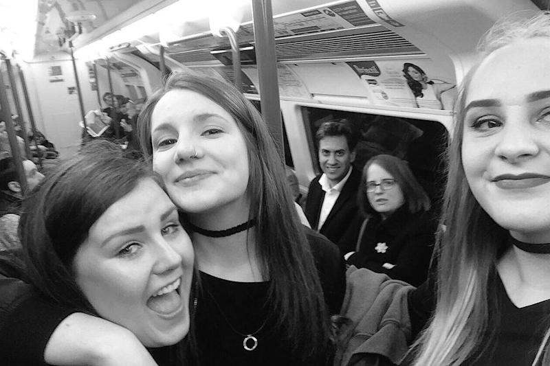 Alice Harrison and her friends with Ed Miliband on the Tube: Alice Harrison
