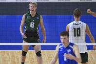 Hawaii's Gage Worsley (6) celebrates after a Hawaii point during the NCAA men's volleyball championship match against BYU, Saturday, May 8, 2021, in Columbus, Ohio. (AP Photo/David Dermer)