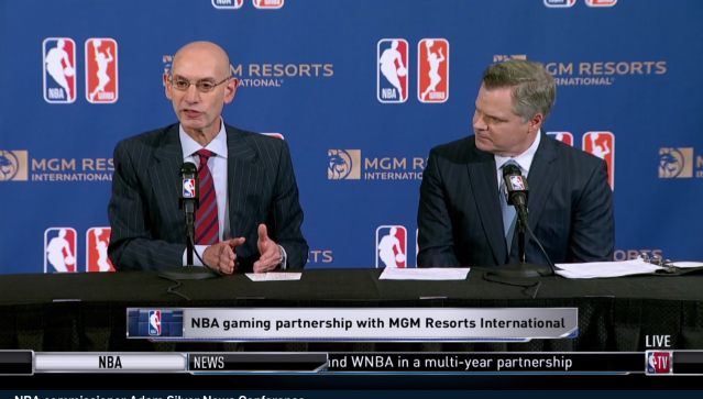 NBA Commissioner Adam Silver (L) with MGM CEO James Murren in New York City on July 31, 2018. (NBA.com livestream)