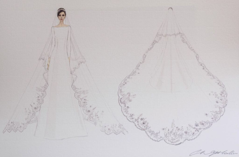 A sketch of Meghan's wedding dress by Clare Waight Keller. [Photo: Getty]