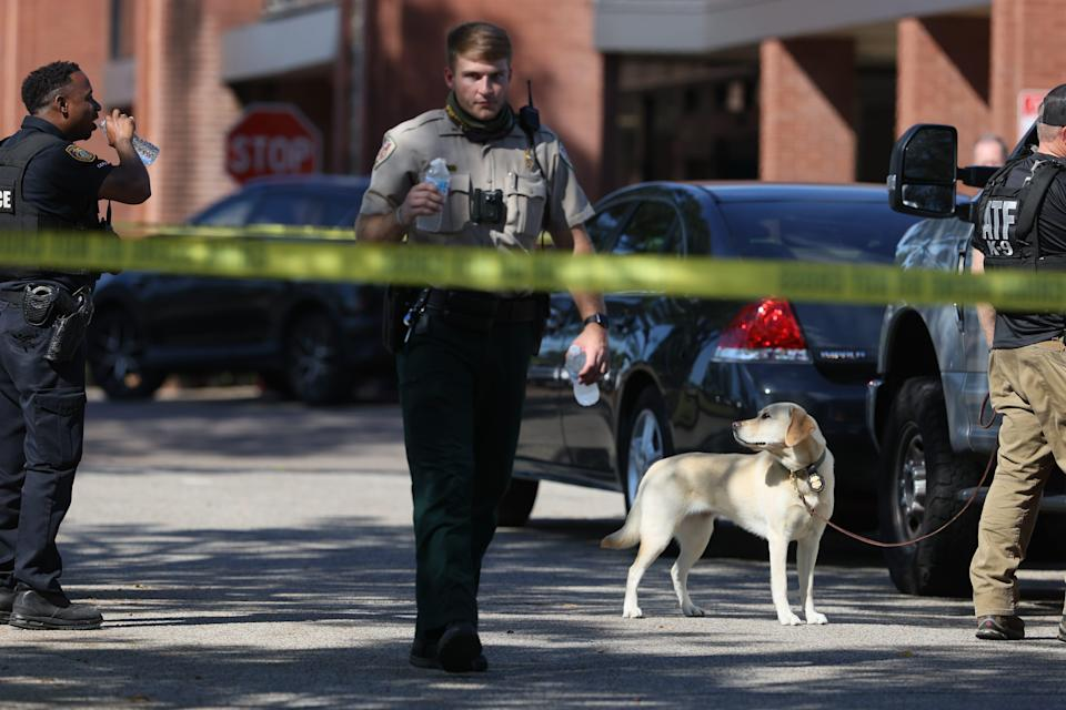 Scenes from outside the Kroger on New Byhalia Road in Collierville where a shooting took place Thursday afternoon, Sept. 23, 2021.