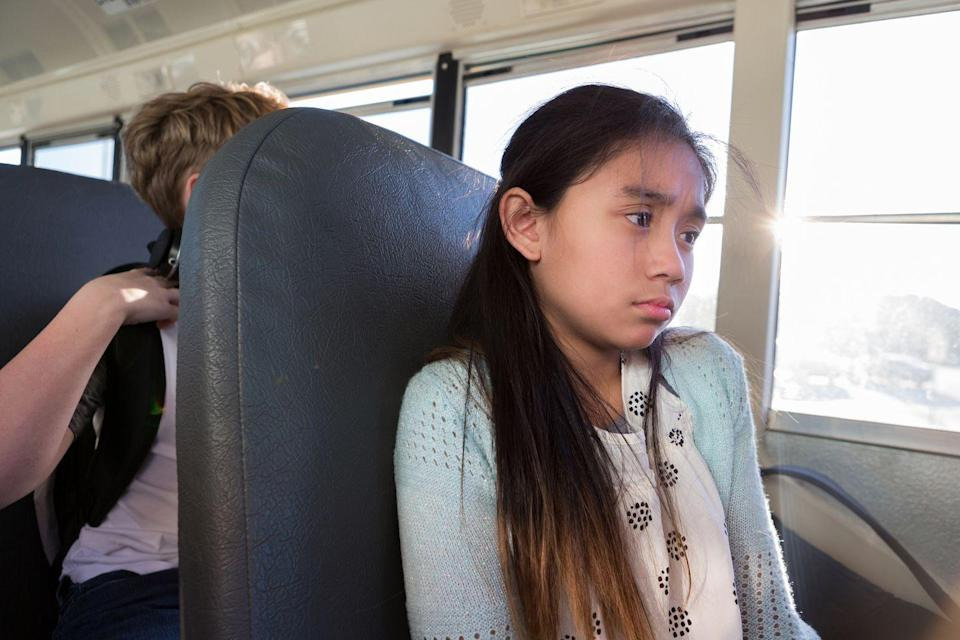 """<p>Yes, it's true that most kids aren't thrilled about the idea of going to school. But an intense fear or dislike of school is often one of the first red flags parents and teachers notice in a kid with anxiety, according to the <a href=""""https://www.washingtonpost.com/news/parenting/wp/2018/10/09/what-does-childhood-anxiety-look-like-probably-not-what-you-think/"""" rel=""""nofollow noopener"""" target=""""_blank"""" data-ylk=""""slk:Washington Post"""" class=""""link rapid-noclick-resp"""">Washington Post</a>. When a child throws a fit before school every single day, isn't performing well, and comes home miserable, it could be because of anxiety. </p>"""