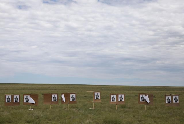 <p>Targets stand in a field where members of self-described patriot groups and militias run through shooting drills during III% United Patriots' Field Training Exercise outside Fountain, Colo., July 29, 2017. (Photo: Jim Urquhart/Reuters) </p>