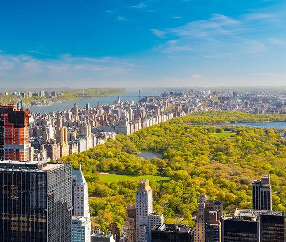New York City's Central Park, which covers 843 acres, or 6 percent of the total acreage of Manhattan.
