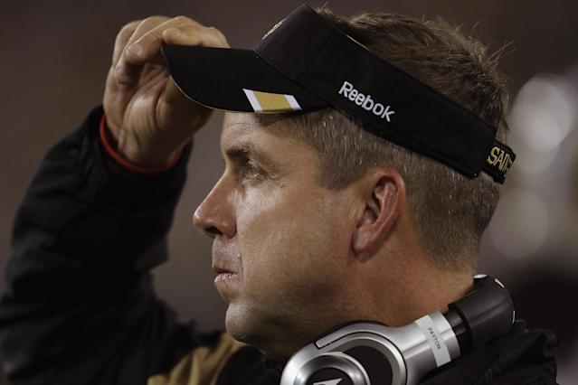 GREEN BAY, WI - SEPTEMBER 08: Head coach Sean Payton of the New Orleans Saints watches as his team takes on the Green Bay Packers during the NFL opening season game at Lambeau Field on September 8, 2011 in Green Bay, Wisconsin. The Packers defeated the Saints 42-34. (Photo by Jonathan Daniel/Getty Images)