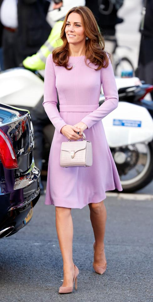 <p>The Duchess of Cambridge attends the Global Ministerial Mental Health Summit at London County Hall wearing a lilac Emilia Wickstead dress on Oct. 9, 2018, in London. (Photo: Max Mumby/Indigo/Getty Images) </p>