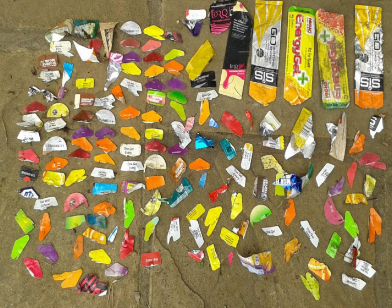 Gel packaging and tear-off strips found in the survey after the event after the organisers' contractors had cleared up.