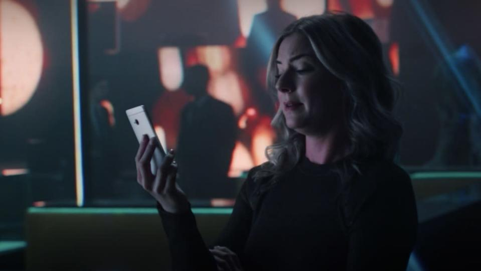 Sharon Carter looks at her cellphone on The Falcon and the Winter Soldier