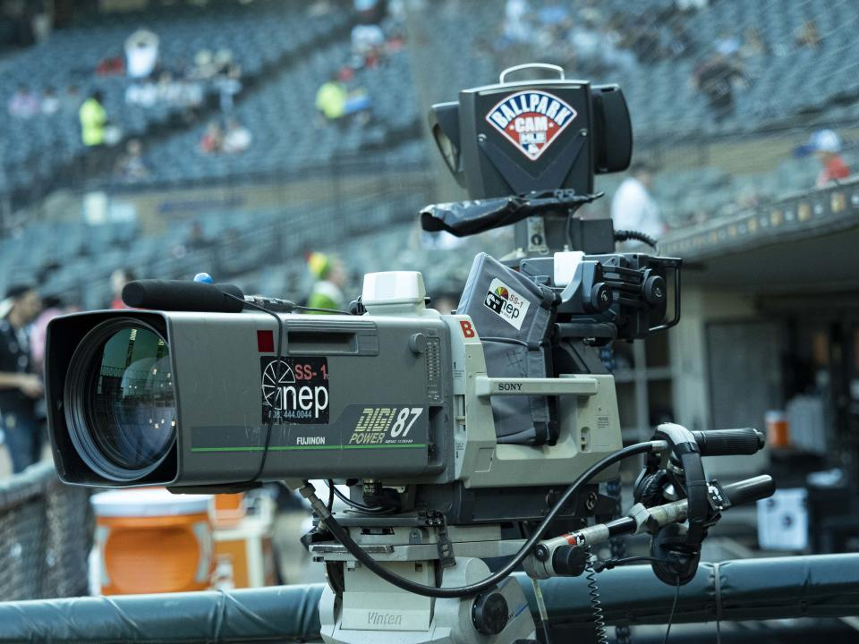 CHICAGO, IL - JULY 25: A view of the WGN broadcast camera before the MLB regular season game between the Minnesota Twins at the Chicago White Sox on July 25, 2019, at Guaranteed Rate Field in Chicago, IL. (Photo by Joseph Weiser/Icon Sportswire via Getty Images)