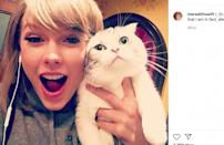"""It goes without saying that the 'Love Story' hitmaker is the undisputed princess of cats. If they had their own Instagram account, her furry friends Olivia Benson and Meredith Grey would gain an incredible following. However, she makes sure to share snaps of the feline creatures on her own account. After the 2015 Grammys, she noted that """"men get her in trouble"""", so she solves this issue by going """"home to the cats"""" instead."""