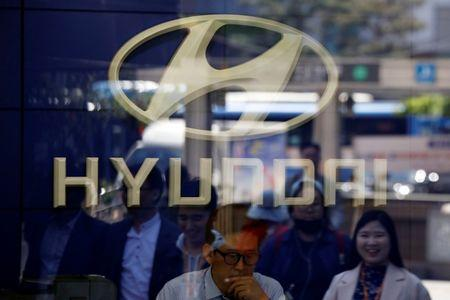 The logo of Hyundai Motor is seen at its dealership in Seoul