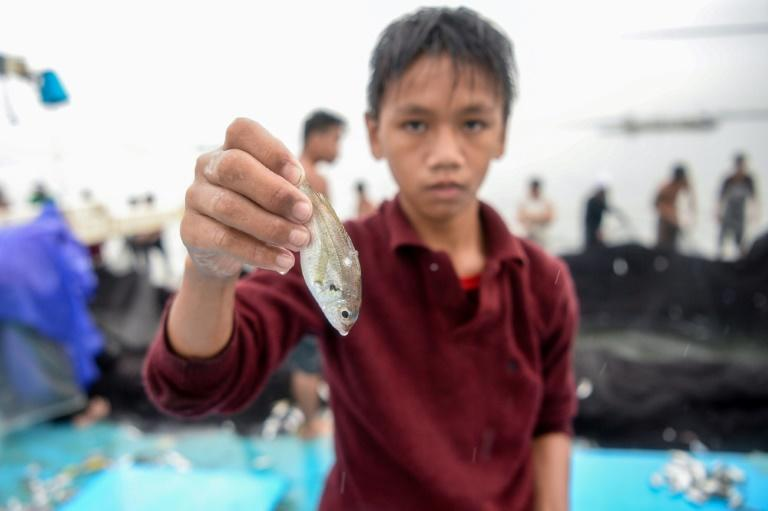 Reymark Cavesirano helps fishermen by removing fish stuck in their nets, which he keeps as payment and sells to buy food and medicine for his family