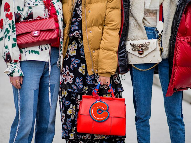 A Gucci bag, Chanel bag, Tory Burch bag outside Tory Burch on February 14, 2017 in New York City: Getty