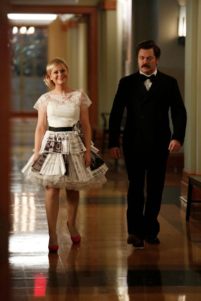 """Leslie and Ben"" Episode 514 -- Amy Poehler as Leslie Knope, Nick Offerman as Ron Swanson"