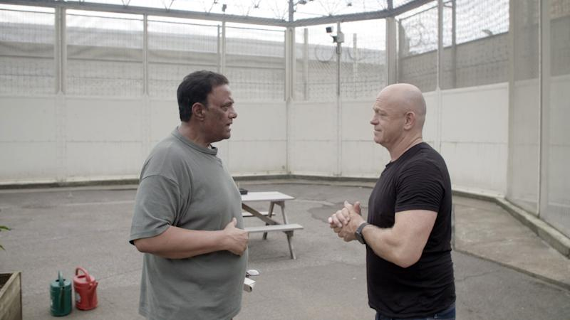 Ross Kemp (right) meets Muhammad Asif Hafeez (left), known as Sultan, the alleged mastermind of a drug-smuggling empire. (Twofour/ITV)