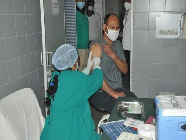 An ITBP personnel taking COVID-19 vaccine shot in Panchkula