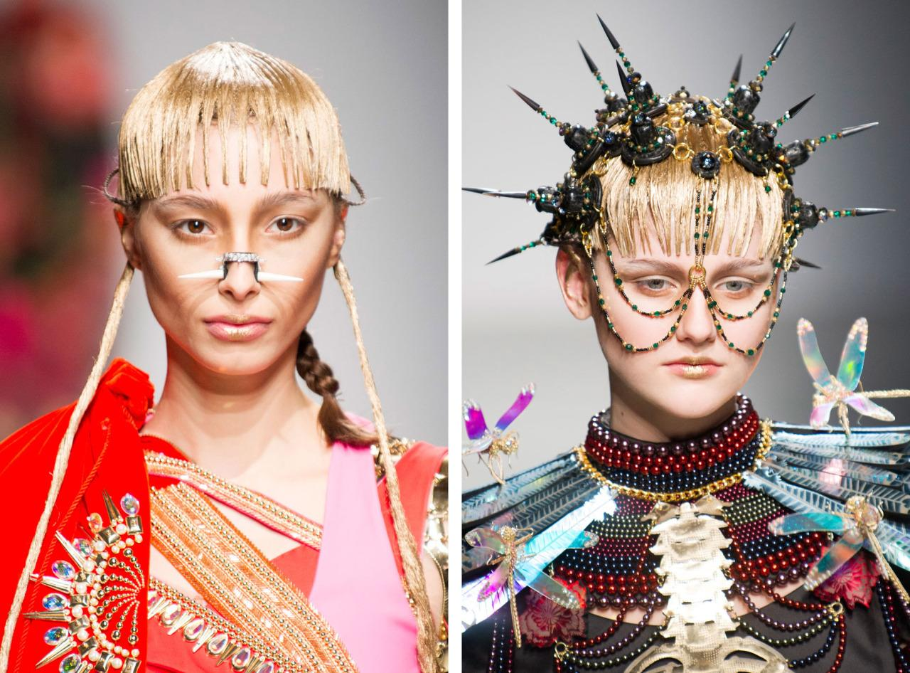 Manish Arora took tribal and cavemen, combined them with a Manic Pixie Dream Girl and spat out kooky face jewels including studded nose cuffs and spiked headpieces.