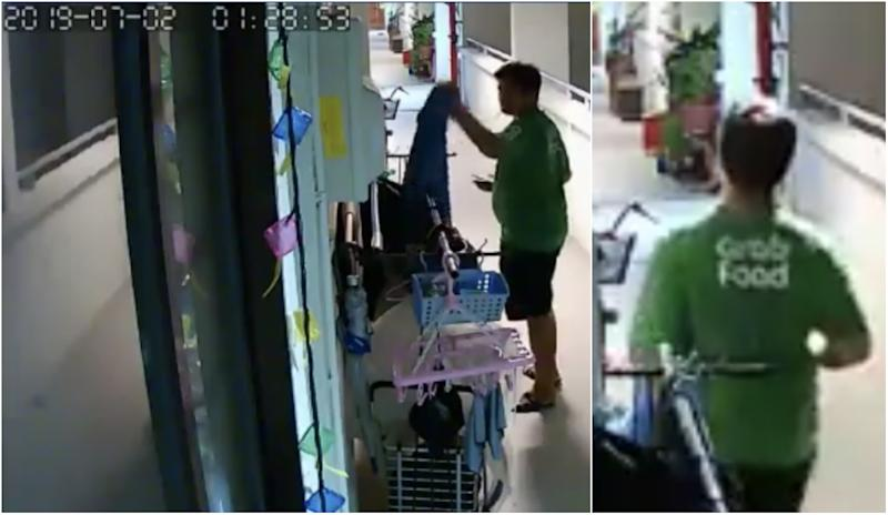 Man in GrabFood t-shirt caught on camera stealing towel