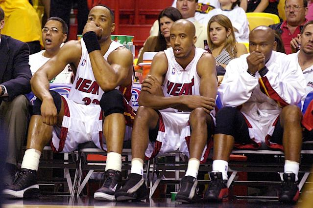 While Miami Heat center Alonzo Mourning (L) was inducted into the Hall of Fame in 2014, Tim Hardaway (R) is still waiting for the call. (Rhona Wise/AFP via Getty Images)