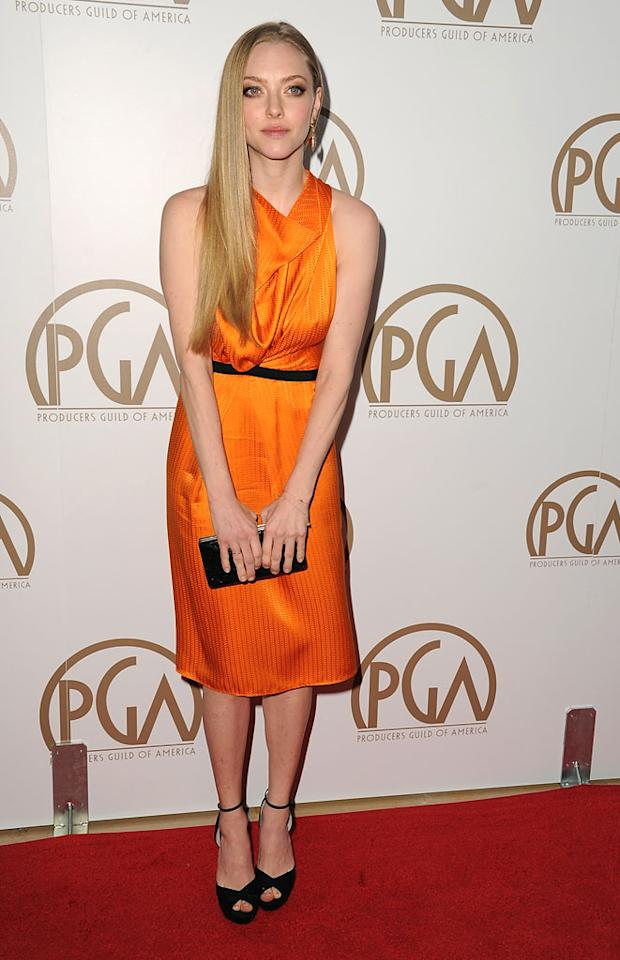 BEVERLY HILLS, CA - JANUARY 26:  Actress Amanda Seyfried arrives at the 24th Annual Producers Guild Awards held at The Beverly Hilton Hotel on January 26, 2013 in Beverly Hills, California.  (Photo by Steve Granitz/WireImage)