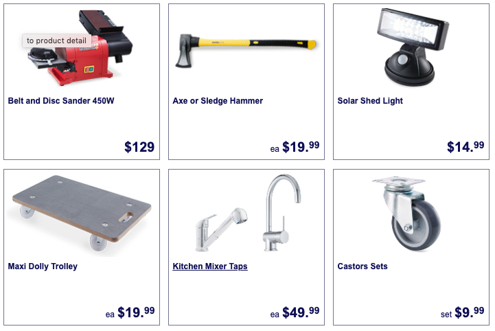 Hardware selling as Special Buys at Aldi.