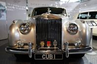 "A Rolls Royce Silver Cloud II from the James Bond film ""A View To A Kill"" is displayed at the opening of the ""Bond in Motion: 50 Vehicles 50 Years"" exhibition at the National Motor Museum in Beaulieu, southern England January 15, 2012. REUTERS/Suzanne Plunkett"
