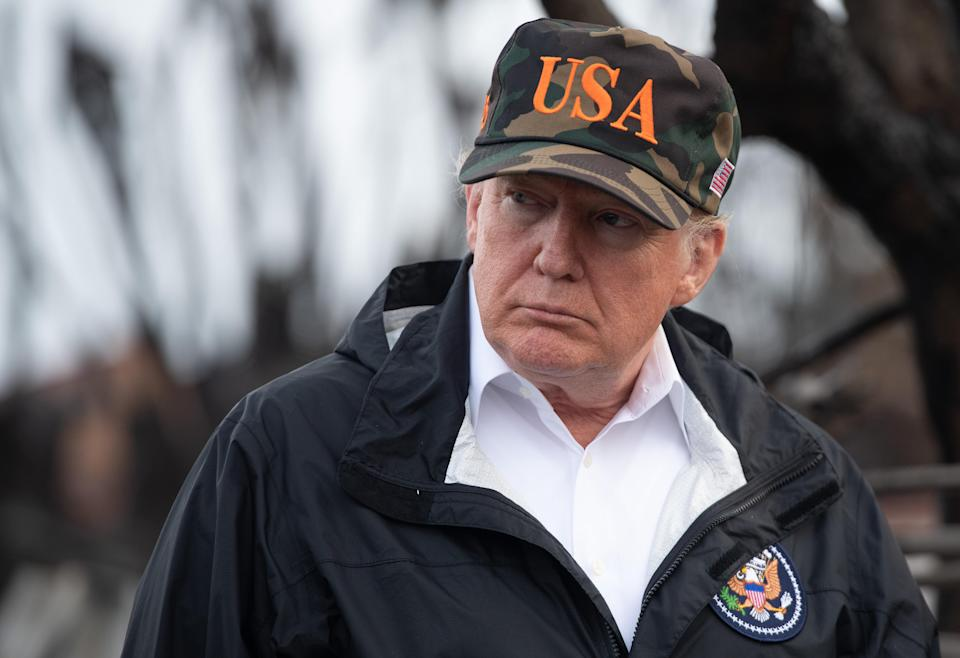 Donald Trump views damage from wildfires in Malibu, Calif., on Nov, 17, 2018. (Photo: Saul Loeb/AFP/Getty Images)