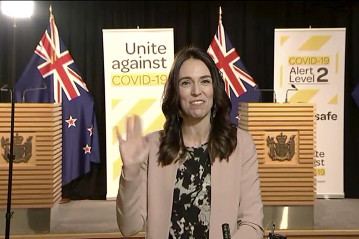New Zealand prime minister Jacinda Ardern during an interview on the coronavirus crisis. (AP)
