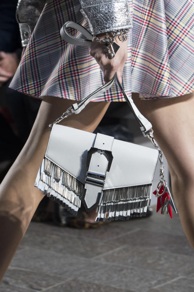 <p><i>White fringe handbag from the SS18 Versus Versace collection. (Photo: ImaxTree) </i></p>