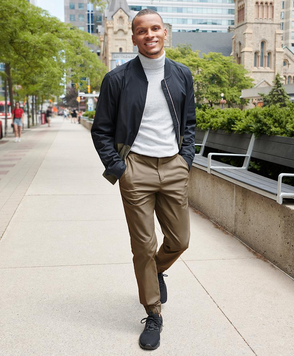 Andre De Grasse for RW&CO. men's fall workwear collection