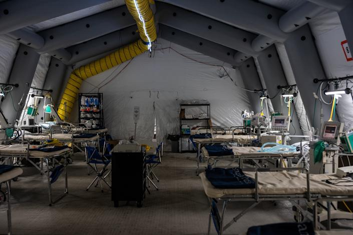 An inside view of a makeshift hospital's ICU in Central Park's East Meadow in New York City on March 31, 2020.
