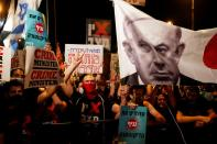 FILE PHOTO: Israelis protest against government's response to the coronavirus crisis