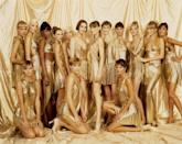"""<p>""""Doug Ordway championed the supermodels as a group. Here we are backstage in 1994, against a shimmering gold backdrop dressed in the famous chain-mail dresses by Gianni Versace, who electrified fashion by turning it into a pop-culture phenomenon. The Golden Girls were Emma Sjöberg, Nadja Auermann, Naomi Campbell, Kate Moss, Ève Salvail, Shalom Harlow, Carla Bruni, Olga Pantushenkova, Christy Turlington, Linda Evangelista, me, Yasmeen Ghauri, Amber Valletta, Tricia Helfer, and Helena Christensen.""""</p>"""